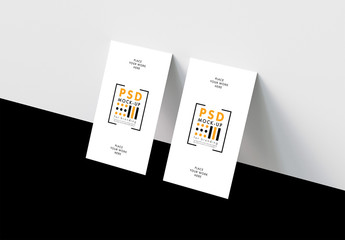 Vertical Business Card Mockup on Black and White Background