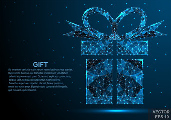 2019. Merry Christmas and Happy New Year. Gift. Congratulations. Low-poly. Bright. For your design.