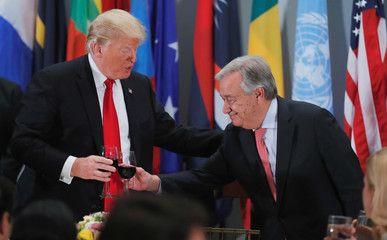 President Trump toasts with United Nations Secretary-General Guterres at luncheon for leaders during the 73rd session of the United Nations General Assembly in New York