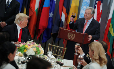 President Trump watches United Nations Secretary-General Guterres toast at luncheon for leaders at the United Nations General Assembly in New York