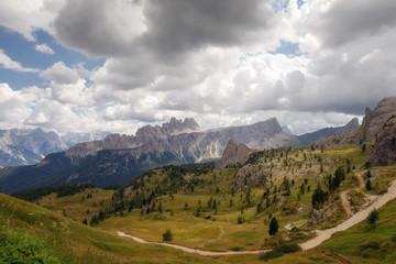 Italian Alps, panorama on the valley and the Croda da Lago mountain range.