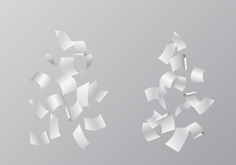 Set of vector illustrations of falling white sheets of paper, isolated on background