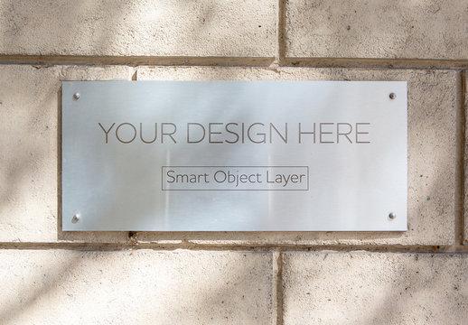 Glass Sign on Wall Mockup