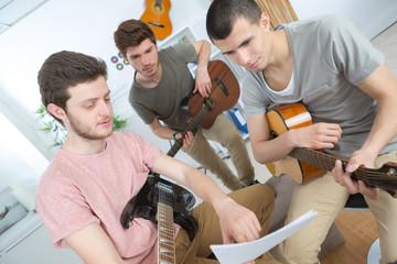 music band rehearsing at home