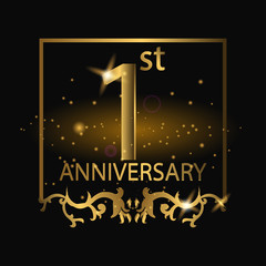 1st anniversary logo with gold color