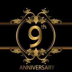 9th anniversary logo with gold color