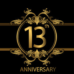 13th anniversary logo with gold color