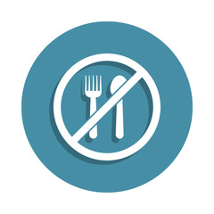 ban on food icon in badge style. One of airport collection icon can be used for UI UX