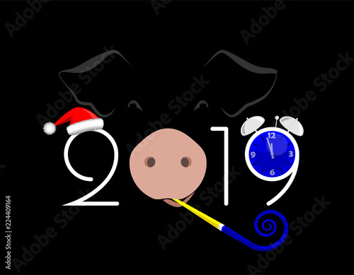 2019 happy new year banner pig clock and numbers on black vector