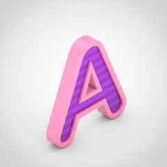 Pink letter A uppercase with violet stripes isolated on white background.