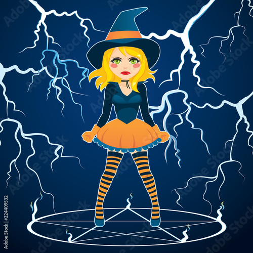 Angry Furious Witch With Green Changing Eyes Casting Magic Spell On Blue Storm Thunder Background