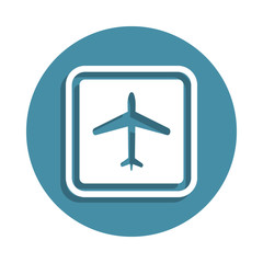 airport sign icon in badge style. One of airport collection icon can be used for UI UX