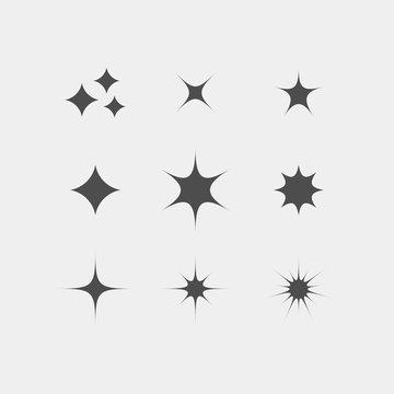 Sparkle flat vector icons. Shine flat vector icons. Glow flat vector icons