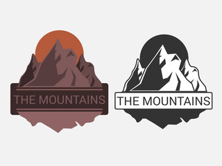 Emblem or logo with a picture of mountains in black and white and color. Vector illustration.