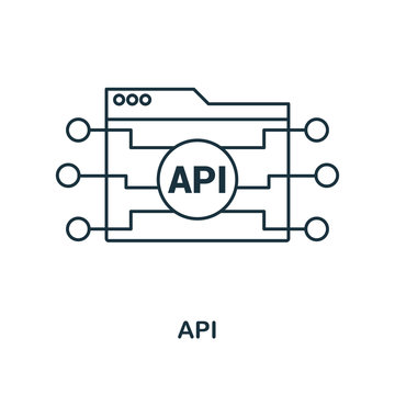 Api outline icon. Simple design from web development icon collection. UI and UX. Pixel perfect api icon. For web design, apps, software, print usage.