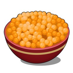 Clay bowl with red caviar isolated on white background. Vector cartoon close-up illustration.