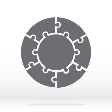 Simple icon circle puzzle in gray. Simple icon circle puzzle of the six pieces and center on gray background. Flat design. Vector illustration EPS10.