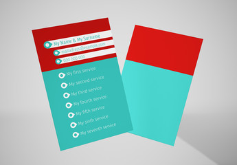 Red and Teal Business Card Layout