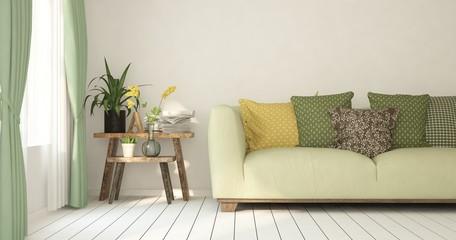 Mock up of white room with sofa. Scandinavian interior design. 3D illustration