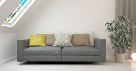 Mock up of white modern room with sofa. Scandinavian interior design. 3D illustration