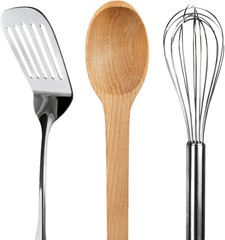 Spatula with Wooden Spoon and Wire Whisk - Isolated