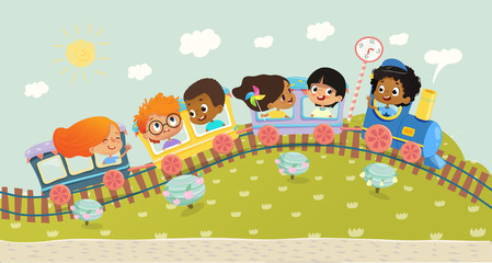 Illustration of the multiracial kids having trip on a train. School kids boys and girls laughing and traveling by colorful train on a green hills. Vector. Can be used for web, poster, banner