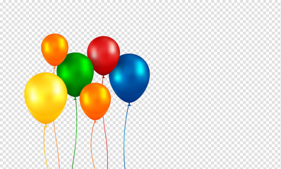 Balloons vector. Realistic Flying Birthday helium balloons. Isolated on transparent background. Party and celebrations decorations. Bunch of Birthday objects.