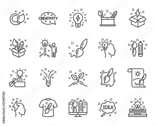 Creativity Line Icons Set Of Design Idea And Inspiration Linear