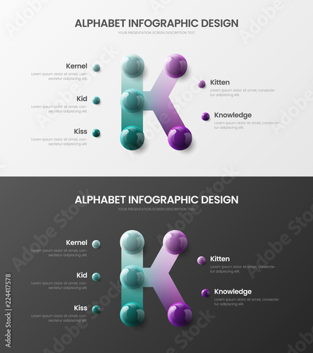 Amazing vector alphabet infographic 3D realistic colorful balls