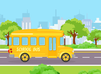 Vector illustration of yellow funny school bus for kids on the modern big city background with buildings and trees. School bus on the road in cartoon flat style.