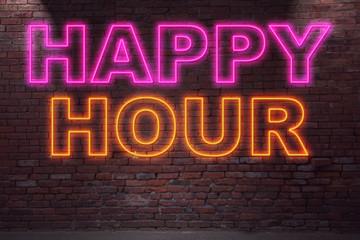Leuchtreklame Happy Hour an Ziegelsteinmauer