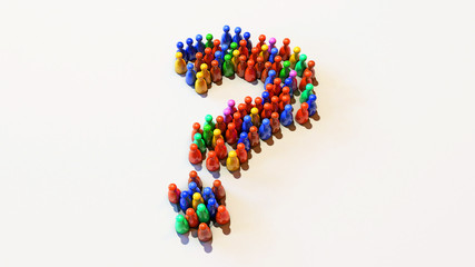 3D Illustration of Red, Green, Blue, Yellow, Colourfully Pawns Standing on a White Background in a Shape of Question Mark