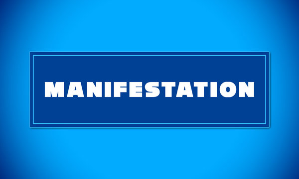 Manifestation - clear white text written on blue card on blue background