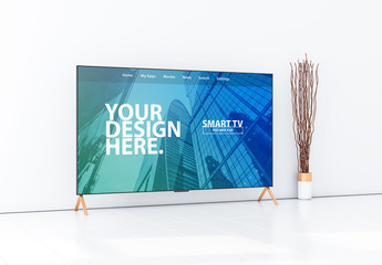 Smart TV on Wooden Stand Mockup