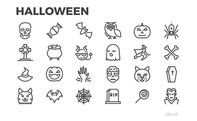 Halloween thin line icons. Pumpkins, witches, zombies, vampires, devils, werewolves and other halloween symbols. Editable line.