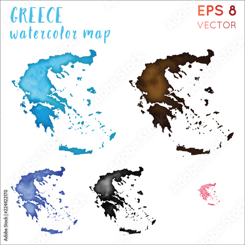 Greece watercolor country map. Handpainted watercolor Greece ...