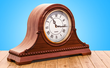 Retro chimes mantle clock, shelf clock on the wooden table. 3D rendering