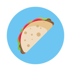 Taco flat icon isolated on blue background. Simple Taco symbol in flat style. Mexico food symbol Vector illustration for web and mobile design.