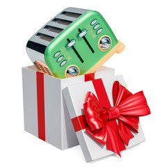 Retro Toaster inside gift box, gift concept. 3D rendering