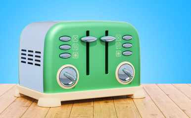 Retro toaster on the wooden table. 3D rendering