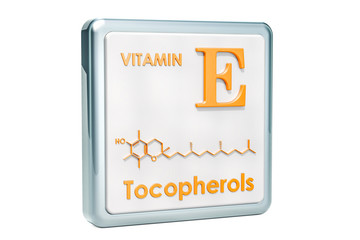 Vitamin E, tocopherols. Icon, chemical formula, molecular structure on white background. 3D rendering