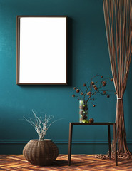 Mock-up frame in living room with rope curtains and bouquet of branch on table, 3d render