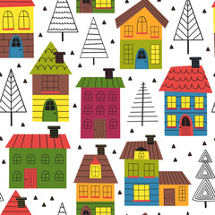 seamless pattern with houses and spruces - vector illustration, eps