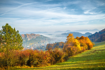 Landscape in autumn colors, Slovakia, Europe.