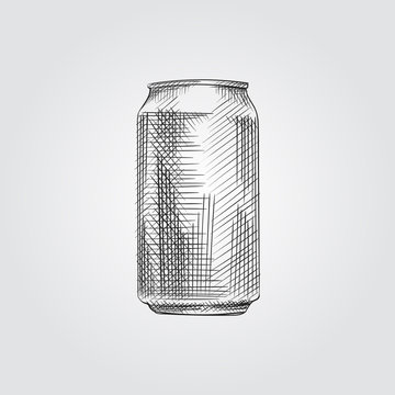 Hand Drawn Aluminum Can Sketch Symbol isolated on white background. Vector Can In Trendy Style.