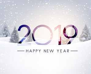 Blurred Happy New Year 2019 card with winter landscape.