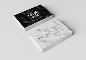 2 Stacks of Business Cards on White Desk Mockup