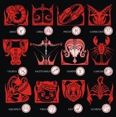 Set illustration with cartoon zodiac