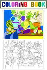 Vegetables and fruits harvest style raster illustration. Thanksgiving Day still life. Old engraving imitation.