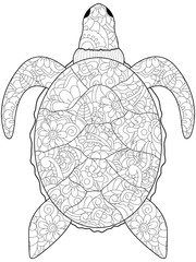 Anti stress coloring sea animal. Turtle black lines on a white background. Raster